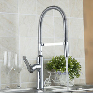 Chrome Kitchen Single Handle Sink Faucets 360 Swivel Spray Mixer