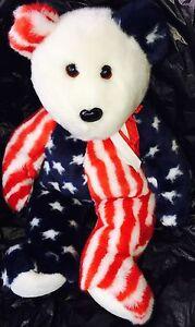 "1999 Ty Beanie Buddies Collection SPARKLER American Flag 14"" Plush TEDDY"