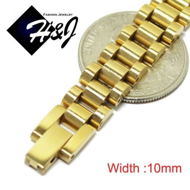 "7.5""--10""MEN Stainless Steel 10mm/15mm Gold Watch Band Link Chain Bracelet*GB43"