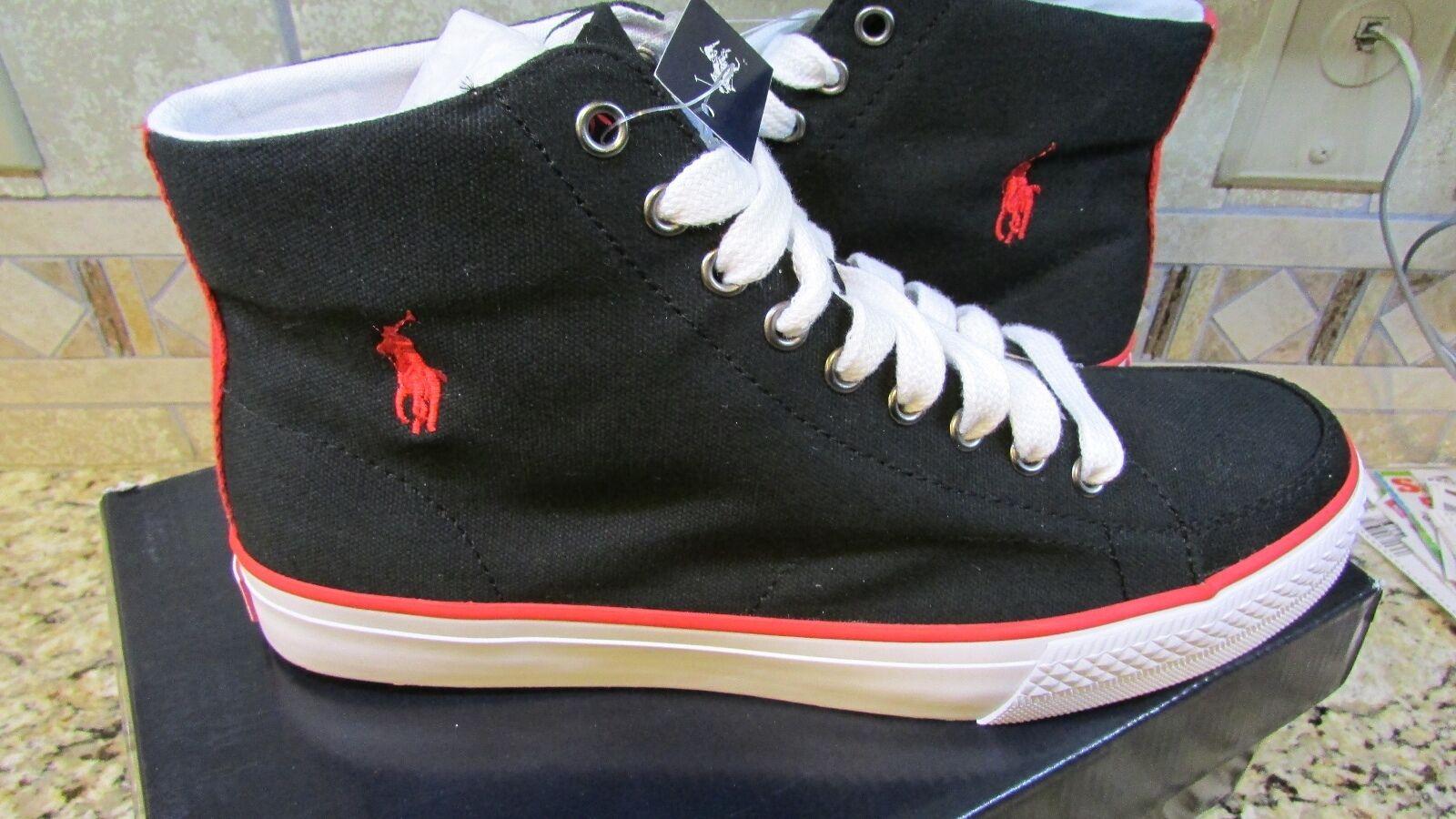 NEW POLO RALPH LAUREN BALLARDS Noir CANVAS SNEAKER Chaussures Homme 9 HI FREE SHIP