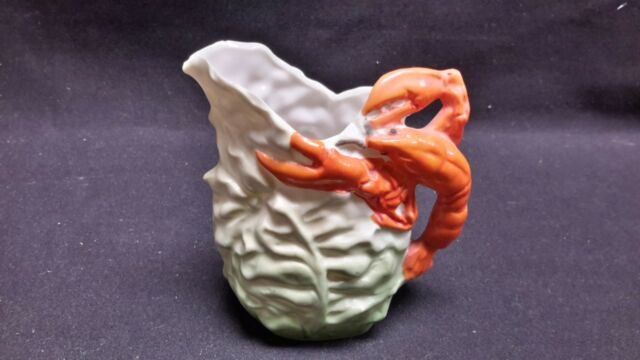 Germany Lobster Creamer Green Leaves Orange White Pitcher Jug