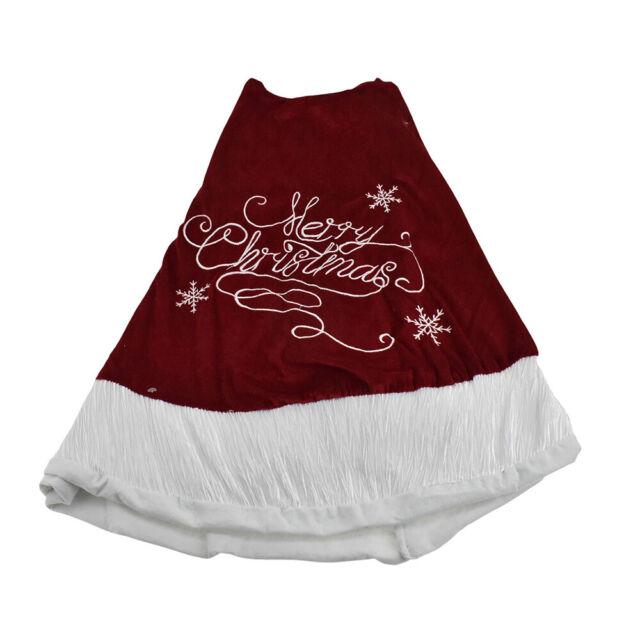 Embroidered 'Merry Christmas' Velvet Tree Skirt, 48-Inch ...