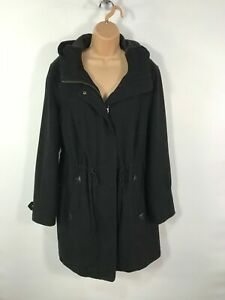 WOMENS-C-amp-A-BLACK-ZIP-UP-CASUAL-WINTER-OVERCOAT-JACKET-WITH-HOOD-SIZE-UK-14