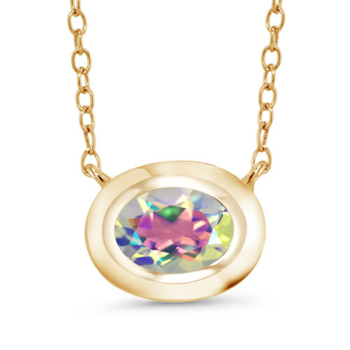 Mercury Mist Mystic Topaz 18K Yellow Gold Plated Silver Pendant With Chain
