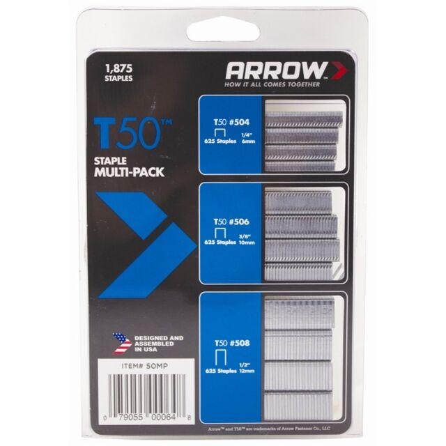 1875-Pack Arrow Fastener 50MP T50 Staple Multi-Pack 2 Pack