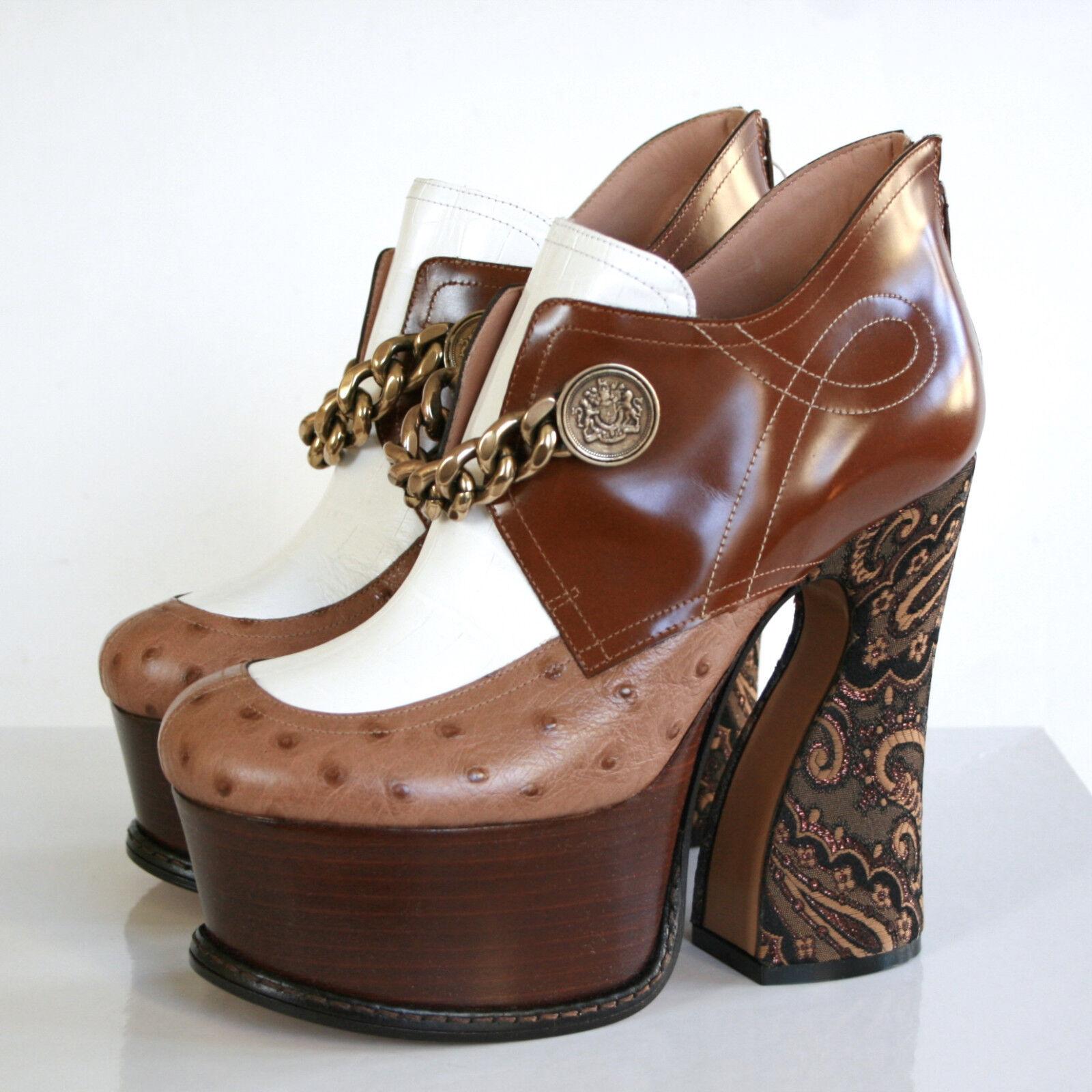 negozio fa acquisti e vendite MAISON MARTIN MARGIELA sculpted sculpted sculpted high heel platform ostrich chain scarpe 37 NEW  vendita economica