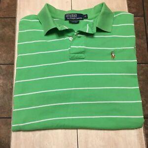 9ea805b6ec8 Ralph Lauren Polo Shirt Striped Green & White Polo Shirt Size Medium ...