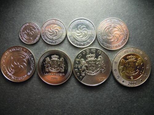 1993 2006 Georgia 1 2 5 10 20 50 tetri 1 2 lari Complete set 8 coins UNC
