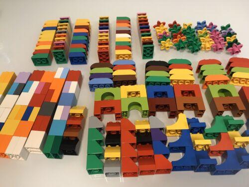 LEGO DUPLO Lot 40 BUILDING BLOCKS BRICKS  Multicolor Flowers Slopes Curves Arch