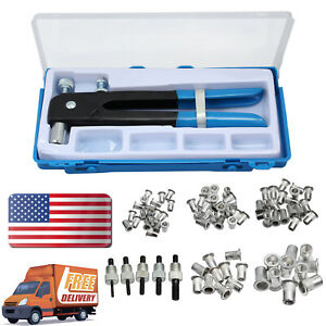 Rivet Nut Tool Kit Set 86 Pcs Heavy Duty Hand Blind Riveter Kit Tools Wrench Threaded Insert Rivnut M3-M8 Rivets Tool Set for Car Trailers Furniture Repair Boat Building and Other Maintanence Project