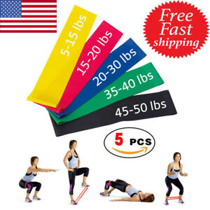 Resistance-Bands-Loop-Set-of-5-Exercise-Workout-CrossFit-Fitness-Yoga-Booty-Band