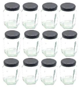 2de05d0fa8ab Details about Nakpunar 12 pcs, 3.75 oz Hexagon Glass Jars with Black Lids  for Jam, and Honey