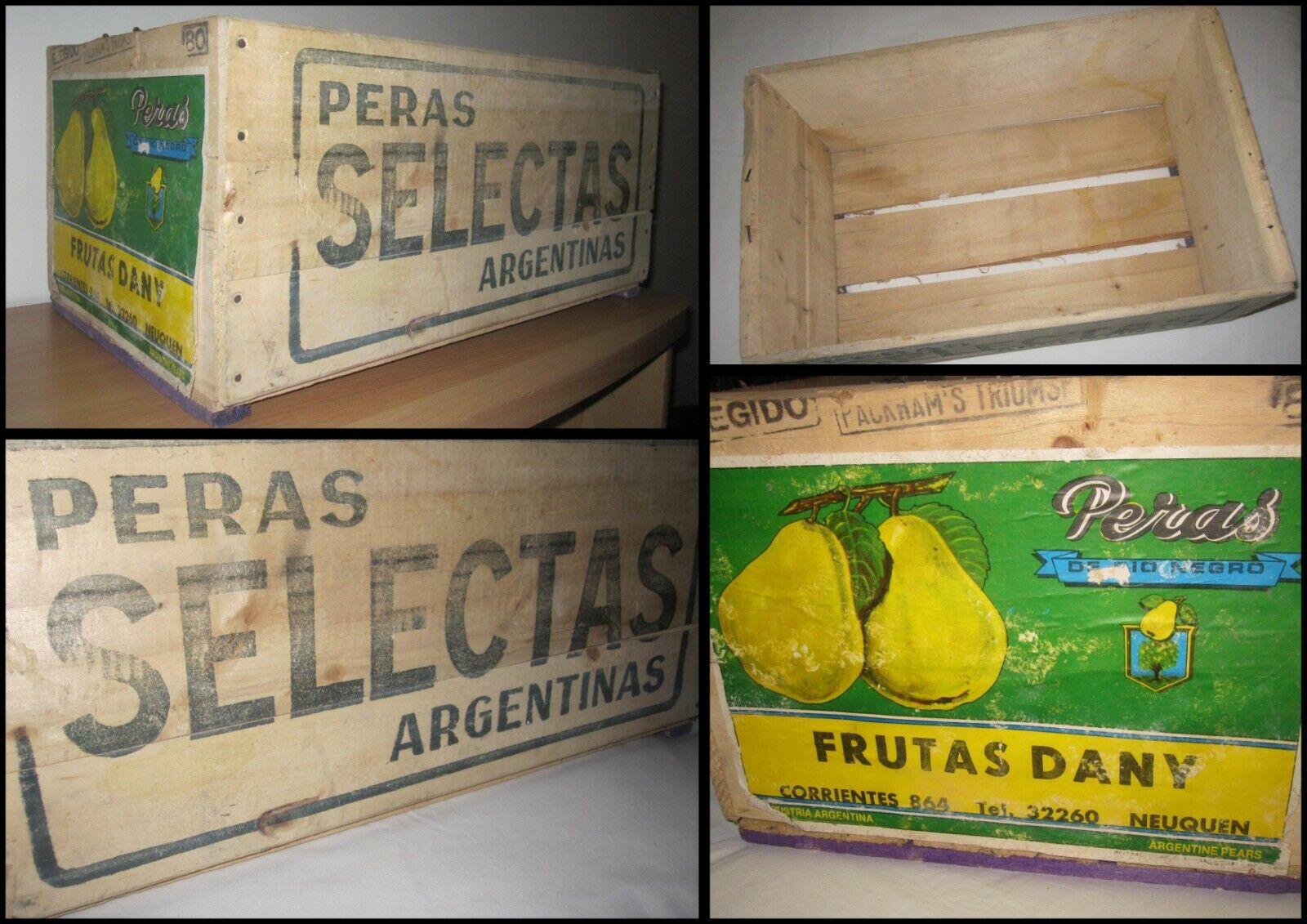 PERA SELECTAS argentooINAS Antica Scatola Cassetta di Frutta in legno Vintage