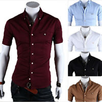 New Men Fashion Luxury Casual Slim Fit Dress Shirts Stylish Short Sleeve T-Shirt