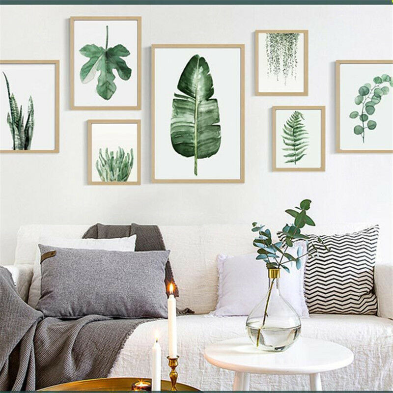 Plant Green Leaves Unframed Canvas Painting Art Poster Office