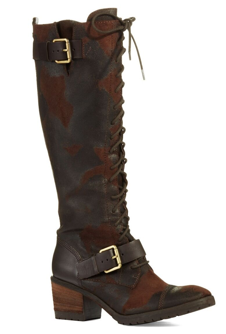 Donald J Pliner Dnali Lace-Up Boot Distressed Knee-High Tall Espresso 5.5  398