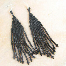 BLACK BUGLE SEED BEADS BEADED NATIVE AMERICAN STYLE EARRINGS