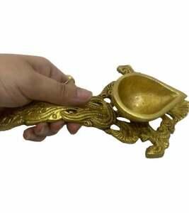 Messing Öl Lampe Diya Weihrauch Burner Arti Worship Hand Held Diya Puja