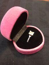 pink ring box wedding velvet diamond engagement gift   b12