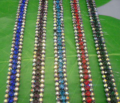 fashion 3row clear AB glass crystal rhinestone black chain claw trim Applique 3P