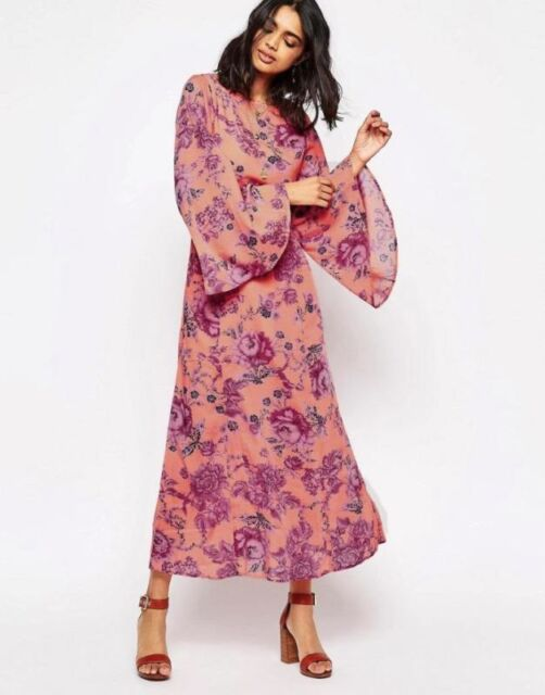 749185281 Free People Melrose Bell Sleeve Clementine Floral pink Maxi Dress Flowy  Boho 2