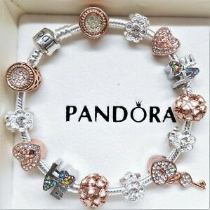 Details about AUTHENTIC PANDORA SILVER CHARM BRACELET WITH LOVE ROSE GOLD  CHARMS HEART & KEY