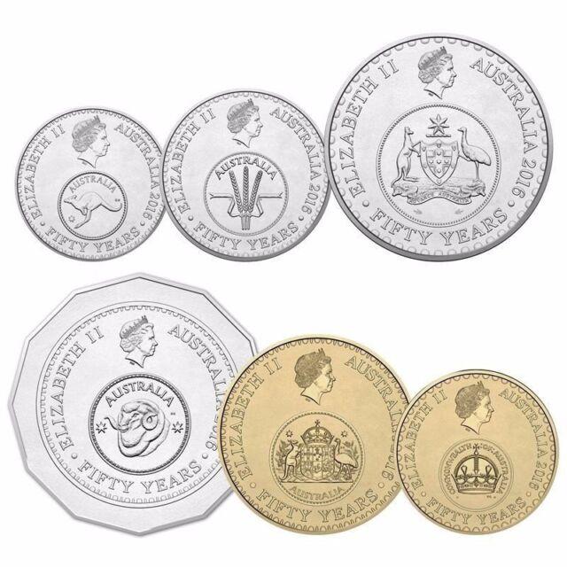 Uncirculated $1 & $2 ,50c,20c,10c,5c Australia 2016 50th  Anniversary COINS