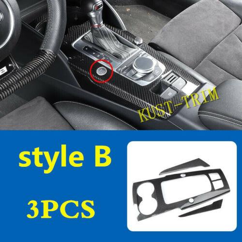 2015-2019 For Audi A3 S3 8V Real carbon fiber Gear Shift Box Panel Cover trim*3X