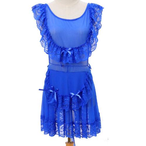 Damen Durchsichtig Spitze Netz Nachthemd Rüschen Maid Outfit Nachtwäsche