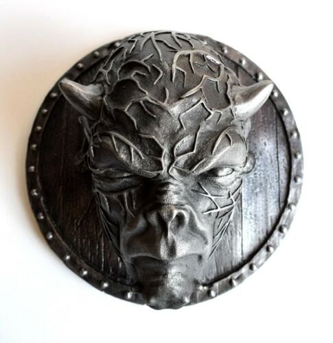 Lucifer Diable Cornes Tête fer sculpture Plaque Wall Art Decor chiffre satanique
