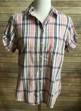 Riders By Lee Women's Short Sleeve Cotton Plaid Shirt Pink White Navy Size M (Q)