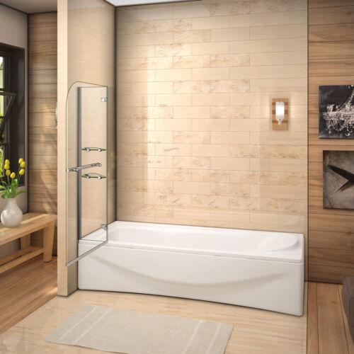Duschwand Echtglas Dusche Duschabtrennung 100 x 140 cm Badewannenaufsatz 2 tlg
