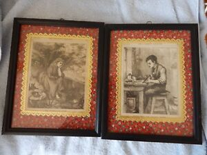 """Diplomatic Pair Framed Vintage B/w Illustrations From """"the Children's Treasure"""" Dated 1872 Skilful Manufacture Antiques"""