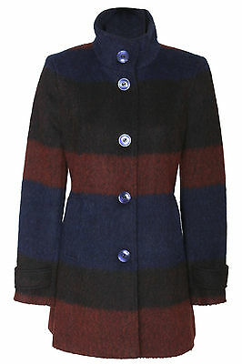 Busy Womens Multi-Coloured High Neck Wool Blend Coat