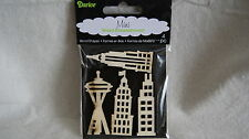 DARICE 4 Piece Mini Wood Embellishments - TALL BUILDINGS - Empire State & More