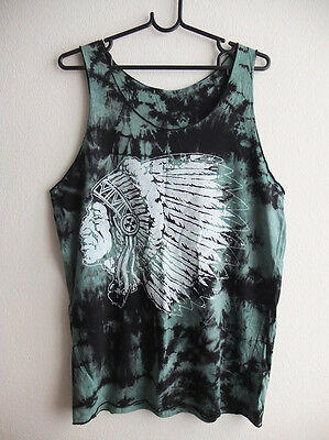 USA American Indian Feather Chief  Tie Dye Tank Top M