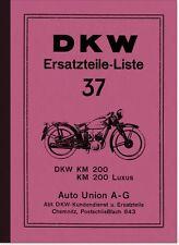 DKW KM 200 und KM200 Luxus Ersatzteilliste Ersatzteilkatalog Spare Parts List
