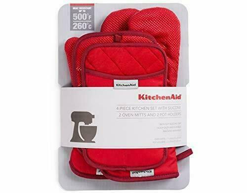 Kitchen Aid 3-Piece Set With Silicone 1 Small Mitt /& 2 Oven Gloves in Red
