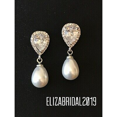 gift for mom Downton Abbey Great Gatsby Wedding and bridal Art Deco rhinestone and pearl earrings Vintage Baroque Pearl dangle earrings