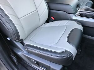 2016 Ford F150 Seat Covers >> Details About 2015 2019 Ford F150 Xlt Supercrew Katzkin Leather Seat Covers Limited Black Gray