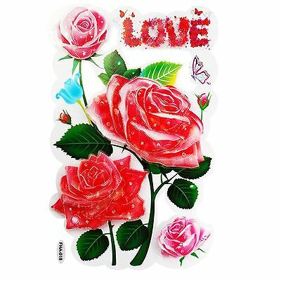WALL ART DECAL STICKER DECORATIONS PINK LOVE ROSES 3D EFFECT 33CM X 17CM