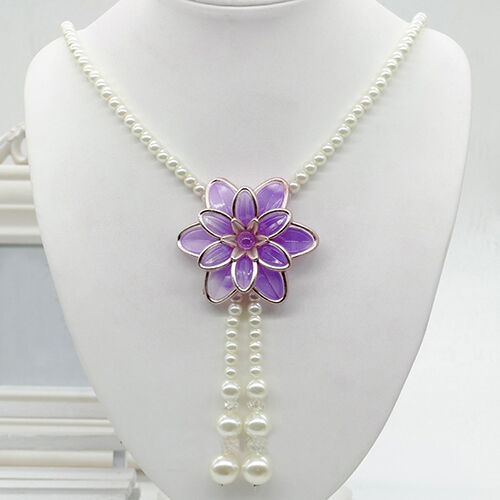 HK- Women Jewelry Flower Pendant Faux Pearl Tassels Necklace Sweater Chain Perfe Fashion Jewelry