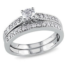 Sterling Silver 1/2 CT Diamond TW Bridal Set Ring GH I2;I3