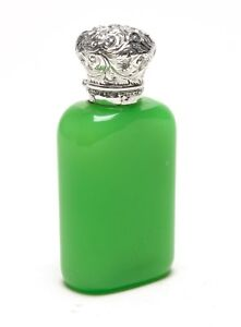 Antique Apple Green Opaline Glass Scent/Perfume Bottle with Silver Repousse Lid