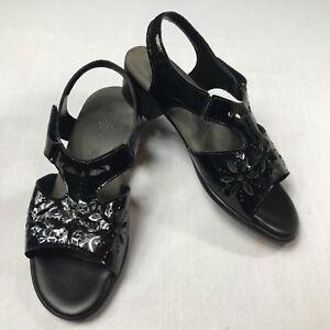 SAS-Tripad-Comfort-Suntimer-Sandals-Black-Patent-Leather-Womens-Size-8-WW-Wide