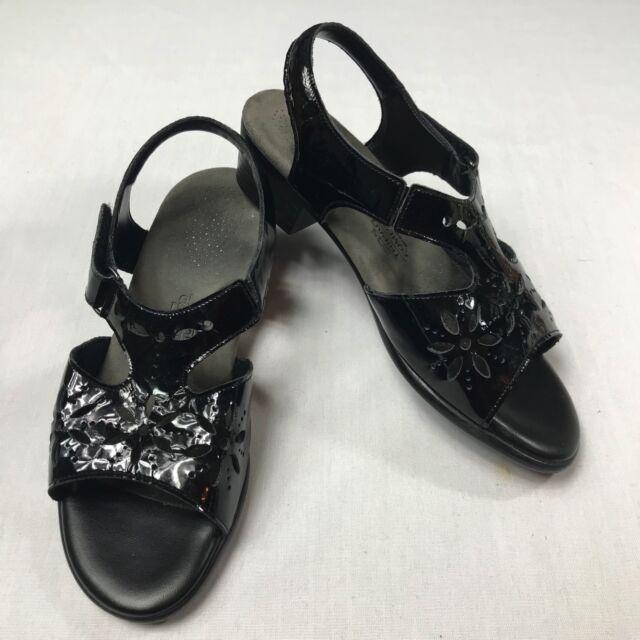 SAS Tripad Comfort Suntimer Sandals Black Patent Leather Womens Size 8 WW Wide