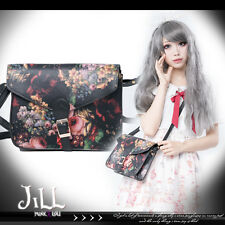 goth lolita neoclassicism floral oil painting leatherette messenger bag J2G6007