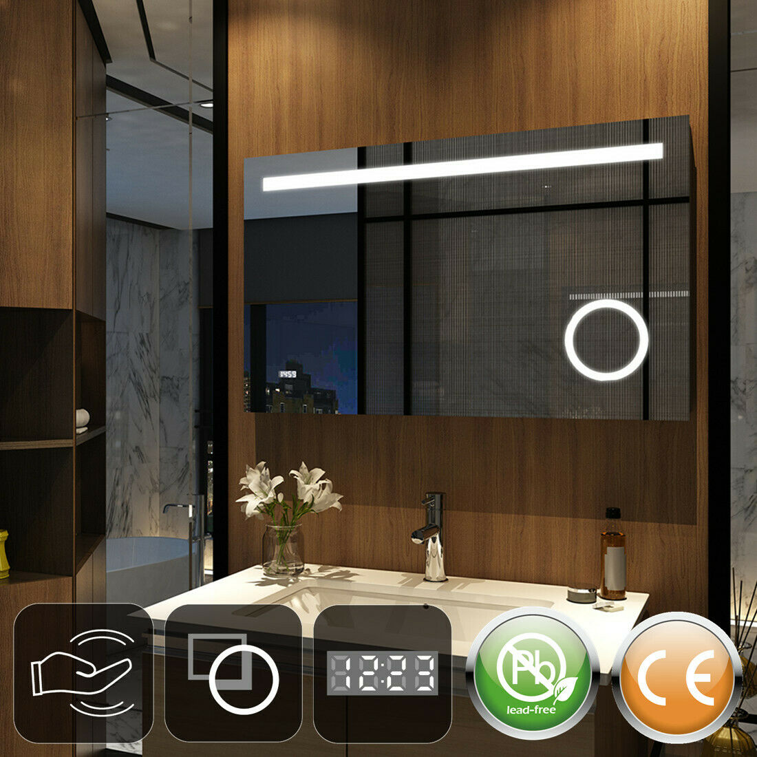 LED Badspiegel 80x60 100x60 12x60 Wandspiegel mit Sensor-schalter, Uhr Spiegel