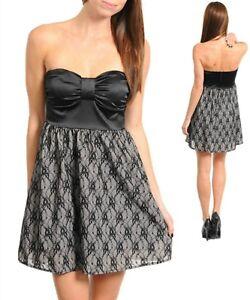 Sz-8-10-Black-Satin-Lace-Strapless-Skater-Chic-Dance-Formal-Club-Prom-Mini-Dress