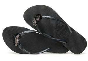 Details about Havaianas Women`s Flip Flops Slim Metal Pin Sandals Black and Silver NWT